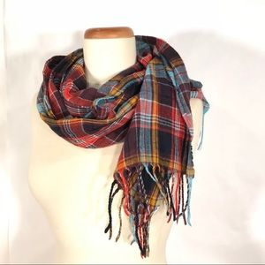 Accessories - Plaid Fringe Lightweight Scarf